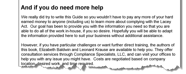 If you need more help with Lacey Compliance, please contact us.